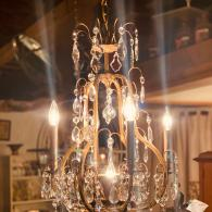 Vintage Brass and Crystal French Rococo Chandelier